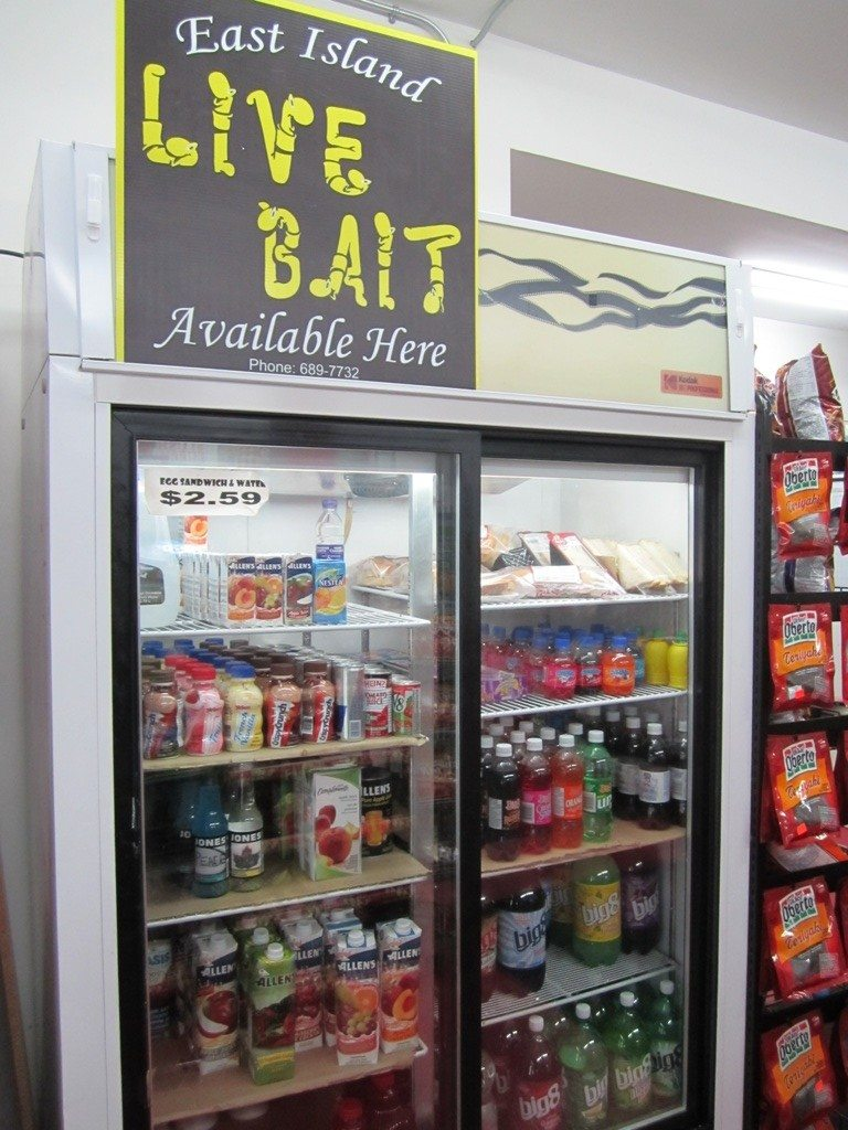 Live Bait Sign Over The Drink Cooler
