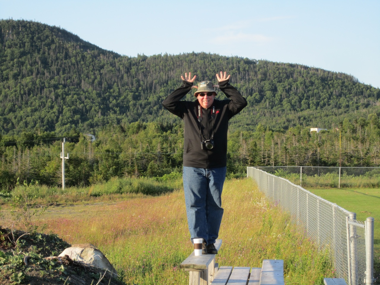 David Trying To Cheer Me Up By Pretending To Be A Moose, Since We Haven't Seen One Yet.
