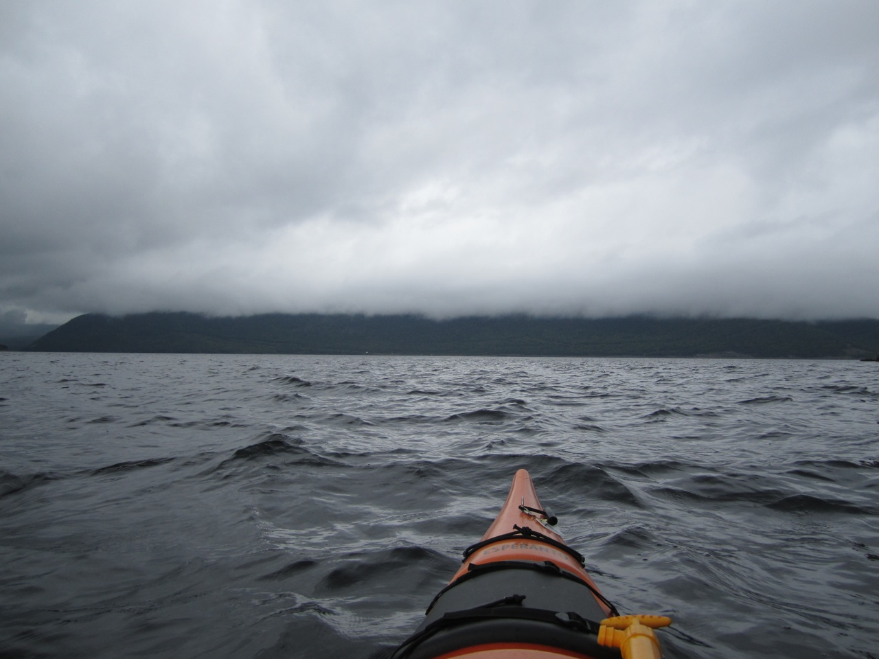 Kayaking Bonne Bay With The Fog And Rain Rolling In