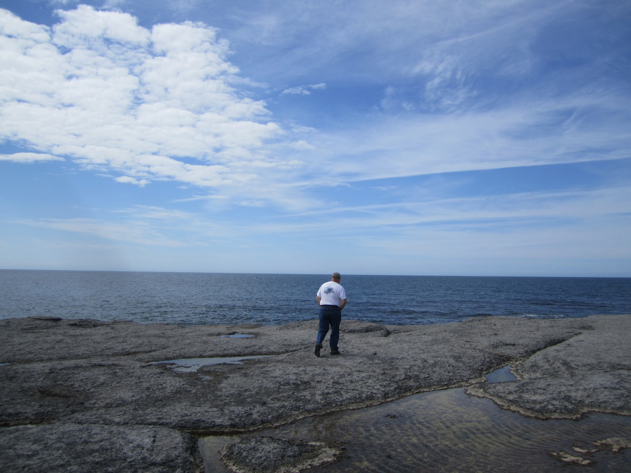 David Walking On The Rocky Shore At Point Riche In Port au Choix
