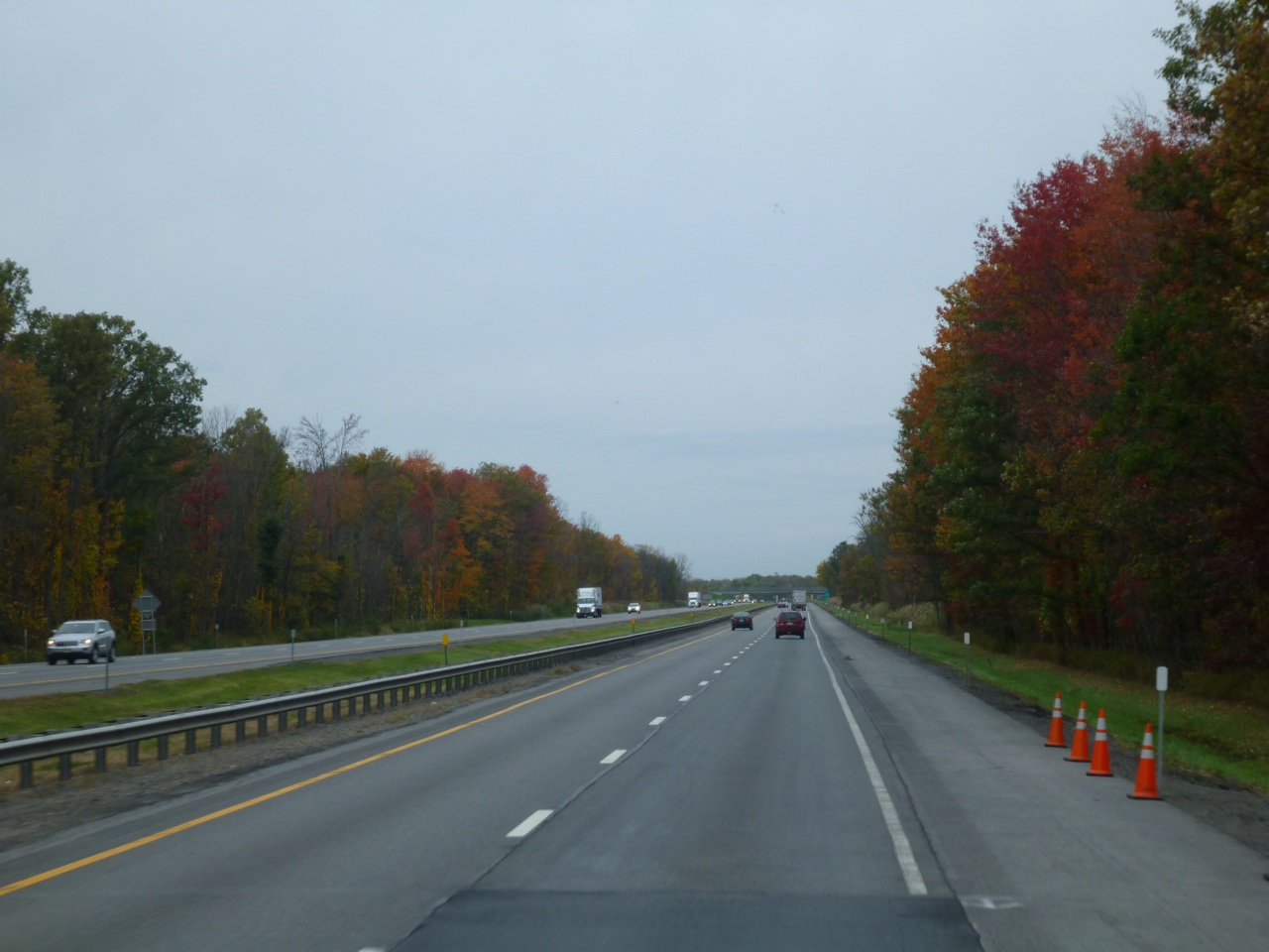 Beautiful Fall Colors Surrounded The Highway