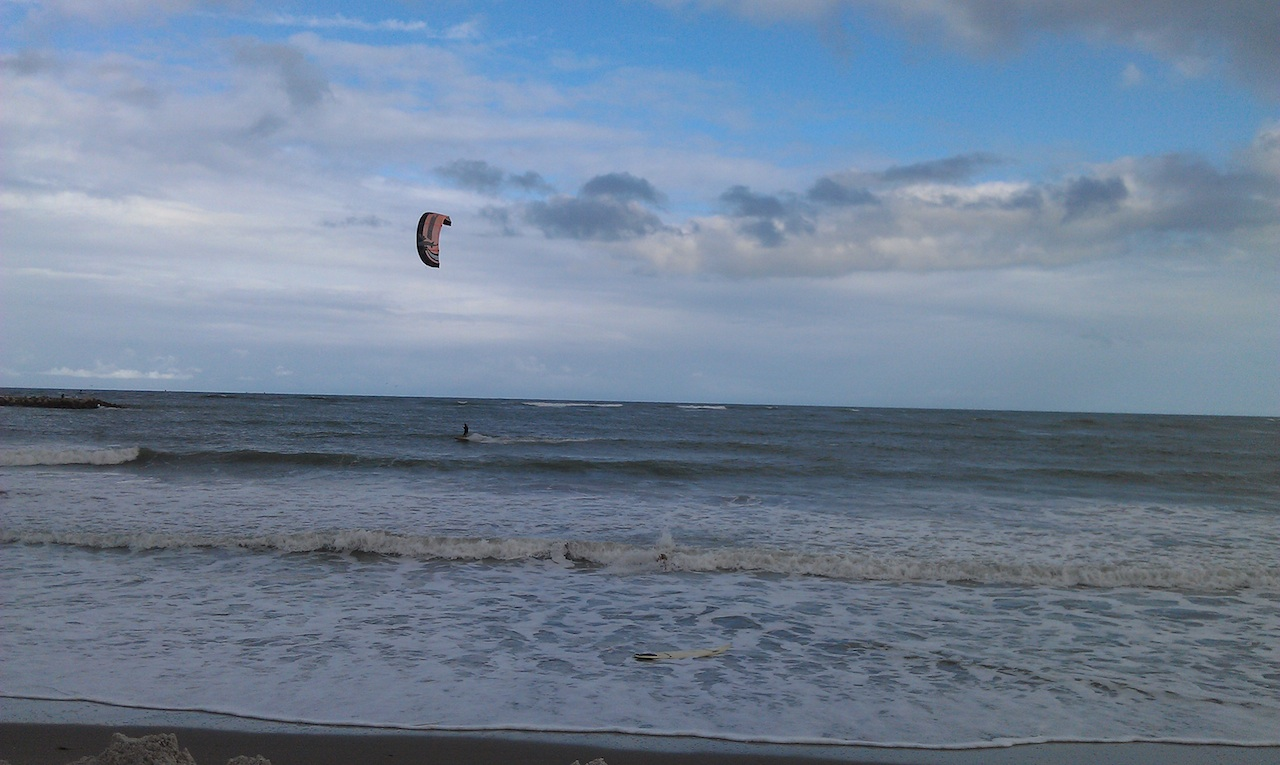 Kite Surfers Were Out At The Beaches At Ft. Pierce, Florida