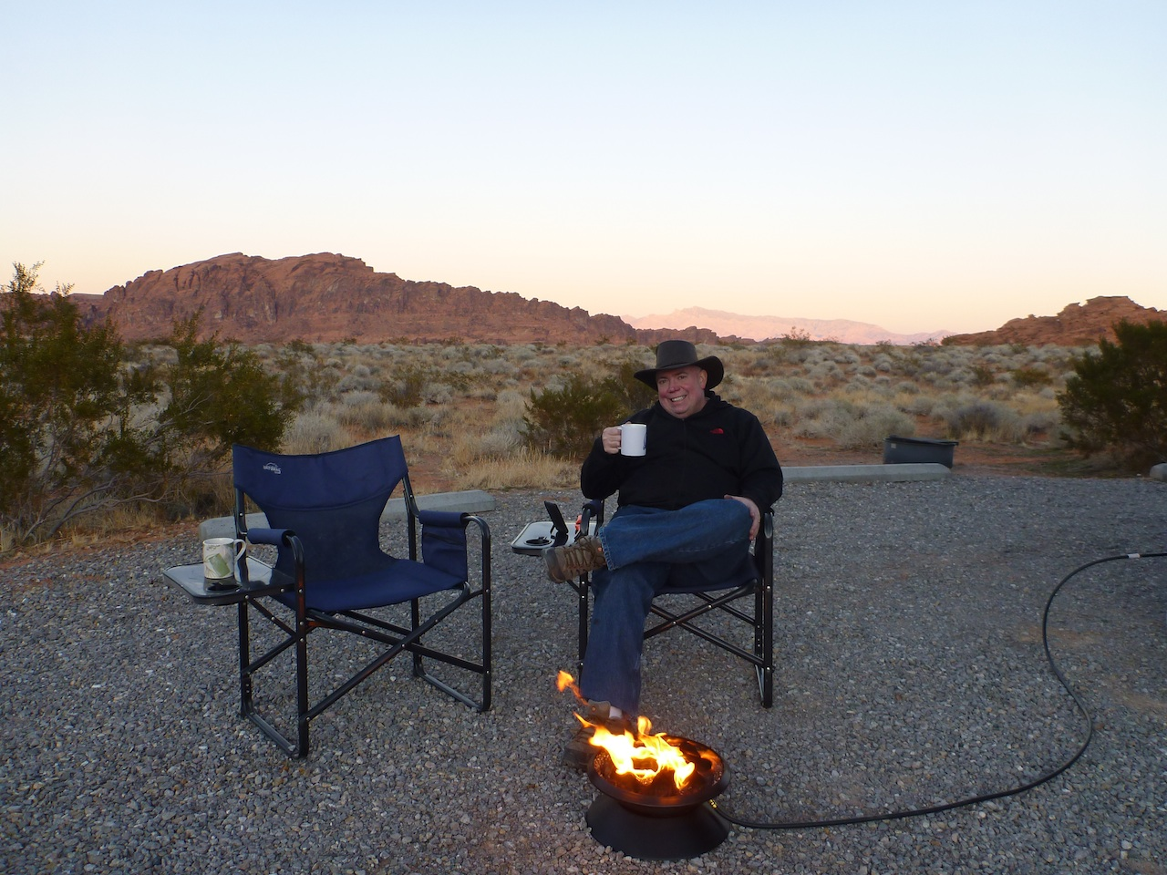 David Enjoying The Evening At Valley Of Fire State Park