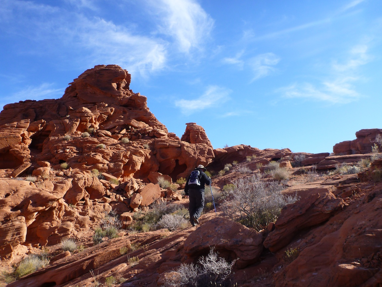 David Hiking Up One Of The Red Rock Mountains By The Campground In Valley Of Fire State Park