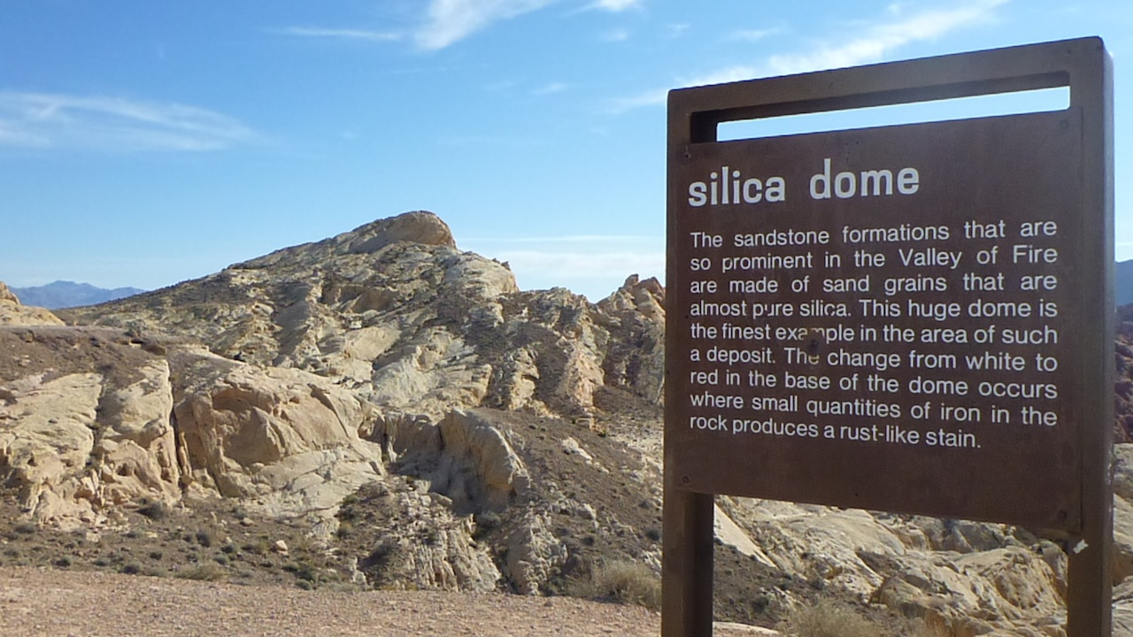 The Sign At Silica Dome, With Silica Dome In The Background