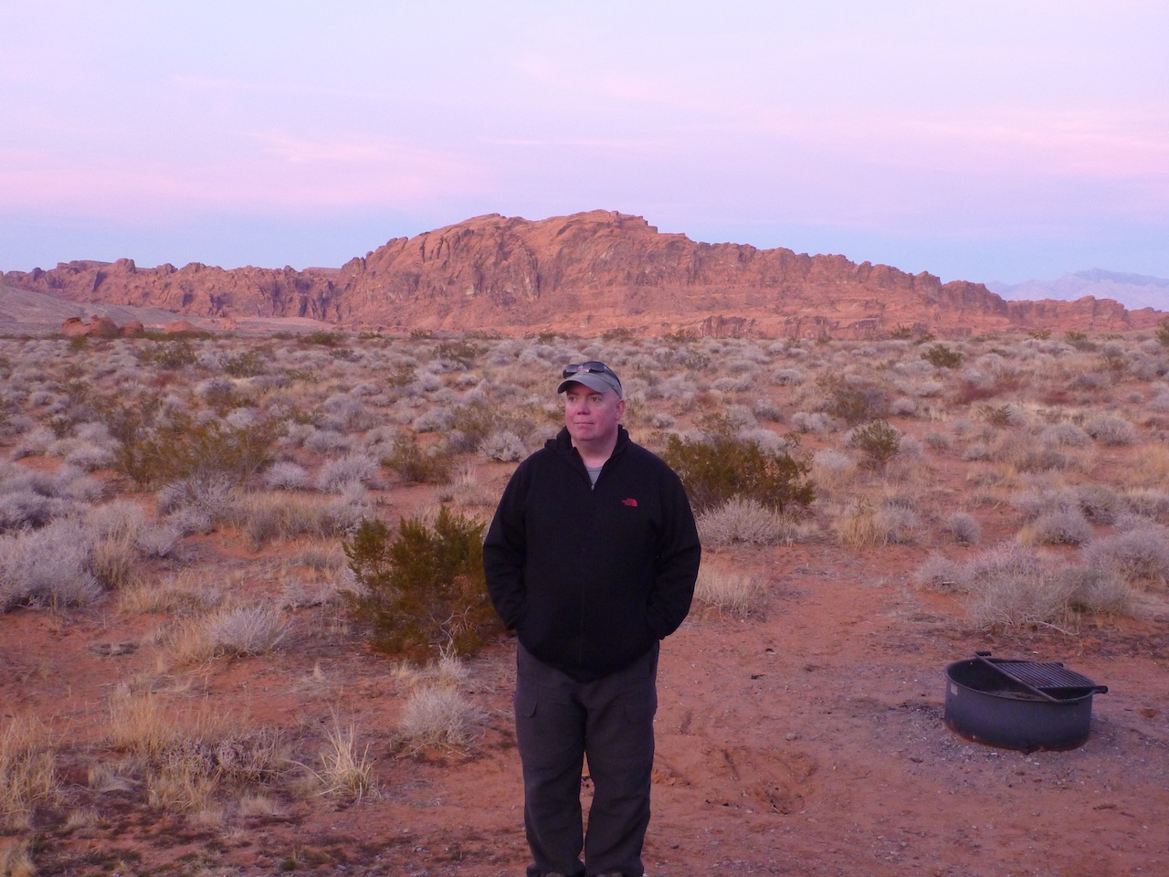 David Enjoying The Sunset At Valley Of Fire State Park Campground