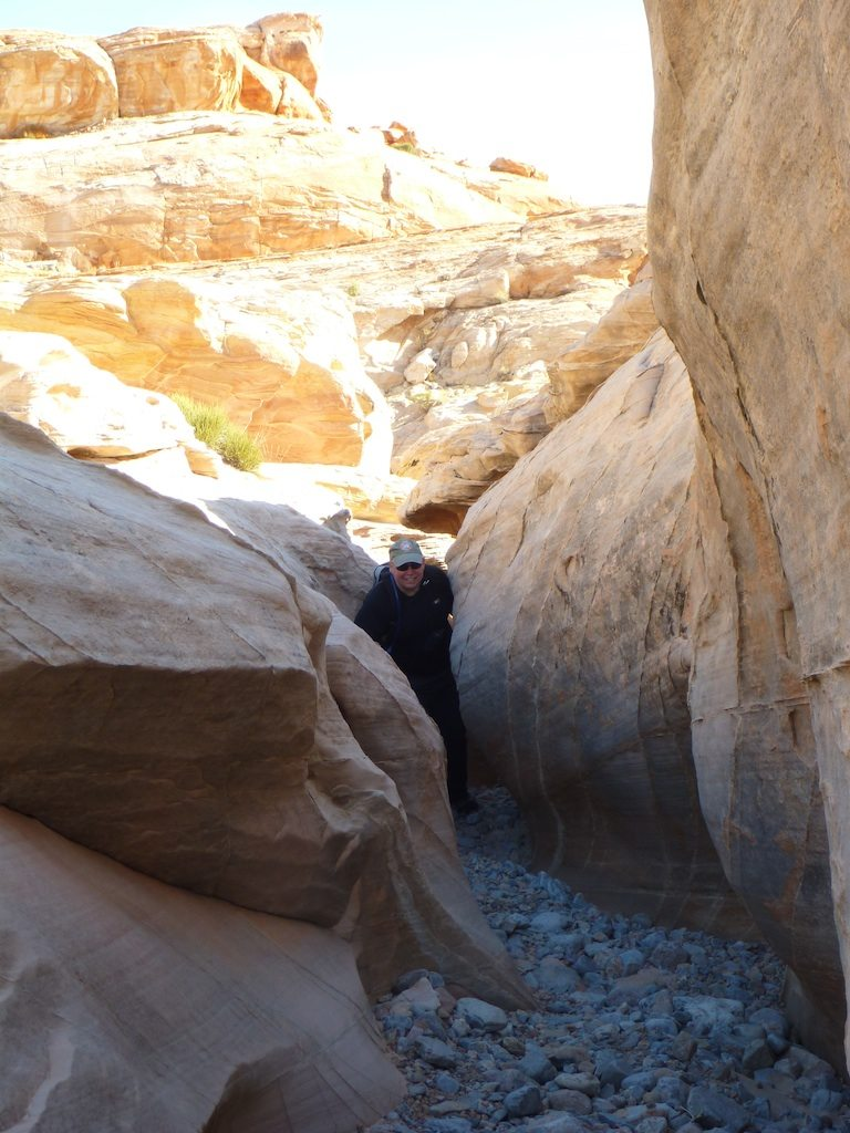 David Making His Way Through One Of The Slot Canyons In A Wash That We Hiked