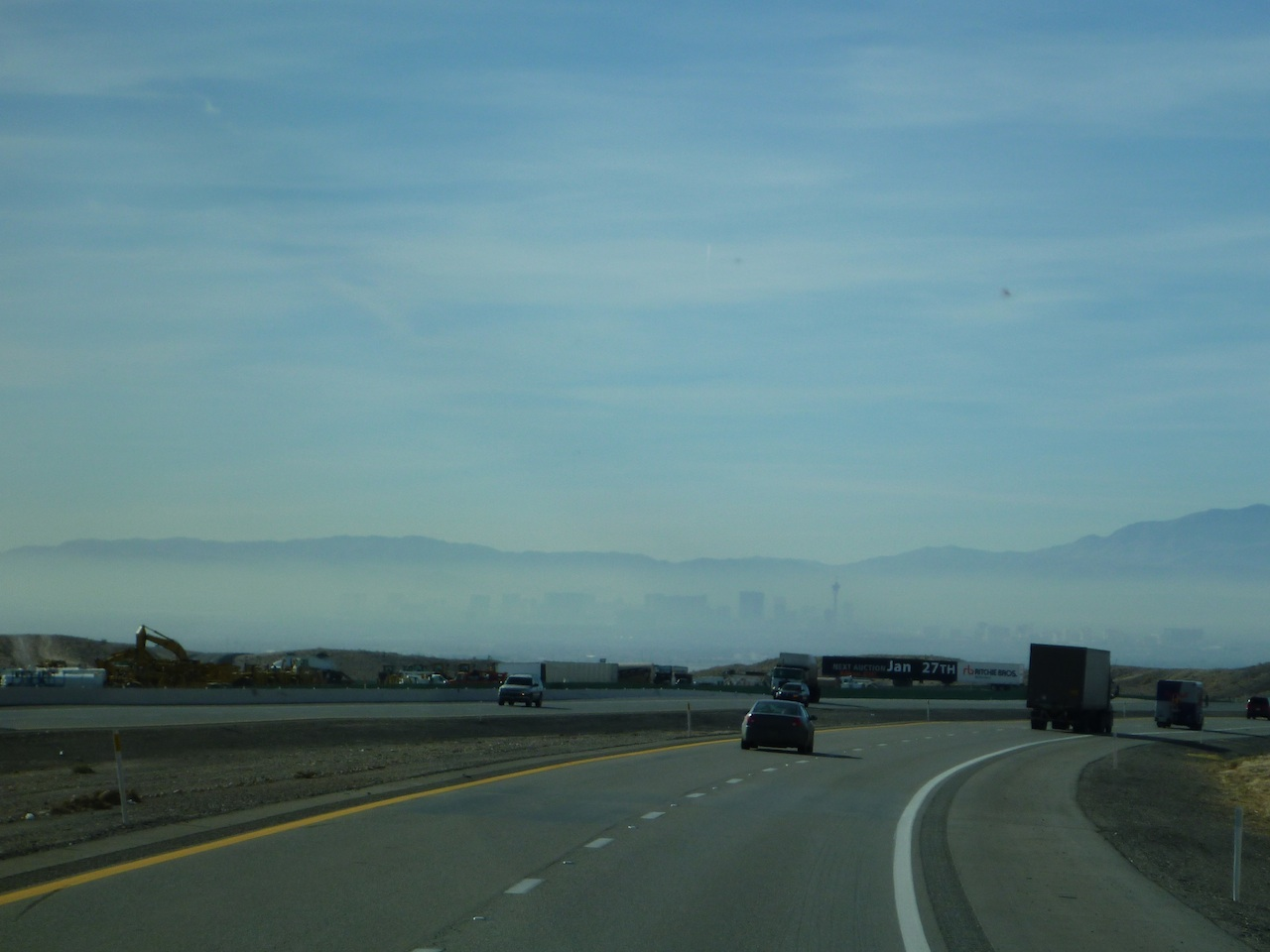 Vegas In The Smoggy Valley In The Distance