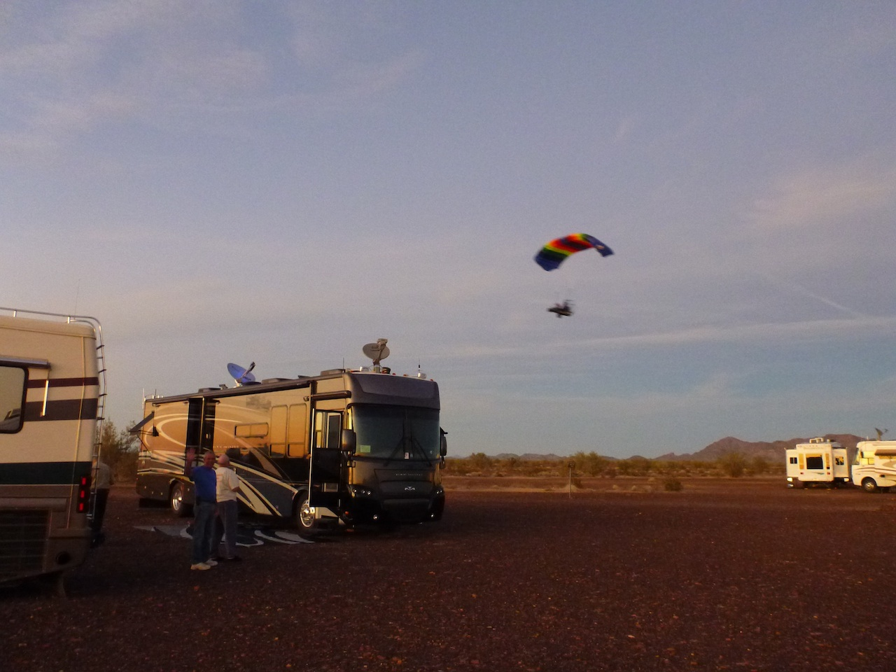 People Flying In Their Powered Parachute Over Our Coach