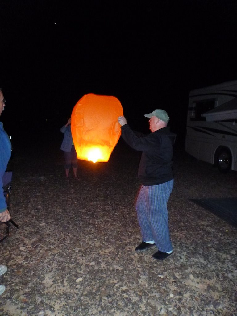 David Getting Ready To Launch The Sky Lantern