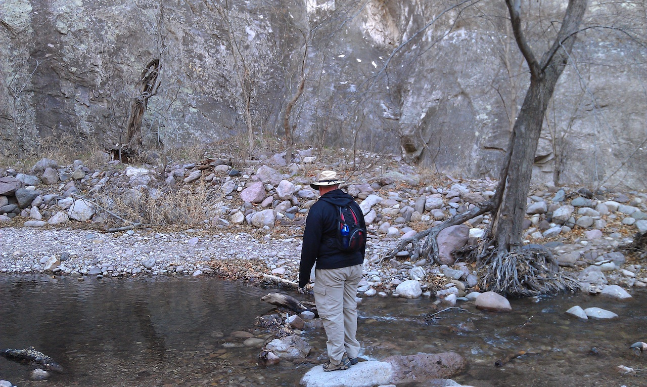 Off The Beaten Path, David Checking Out The Water In The Canyon Bottom