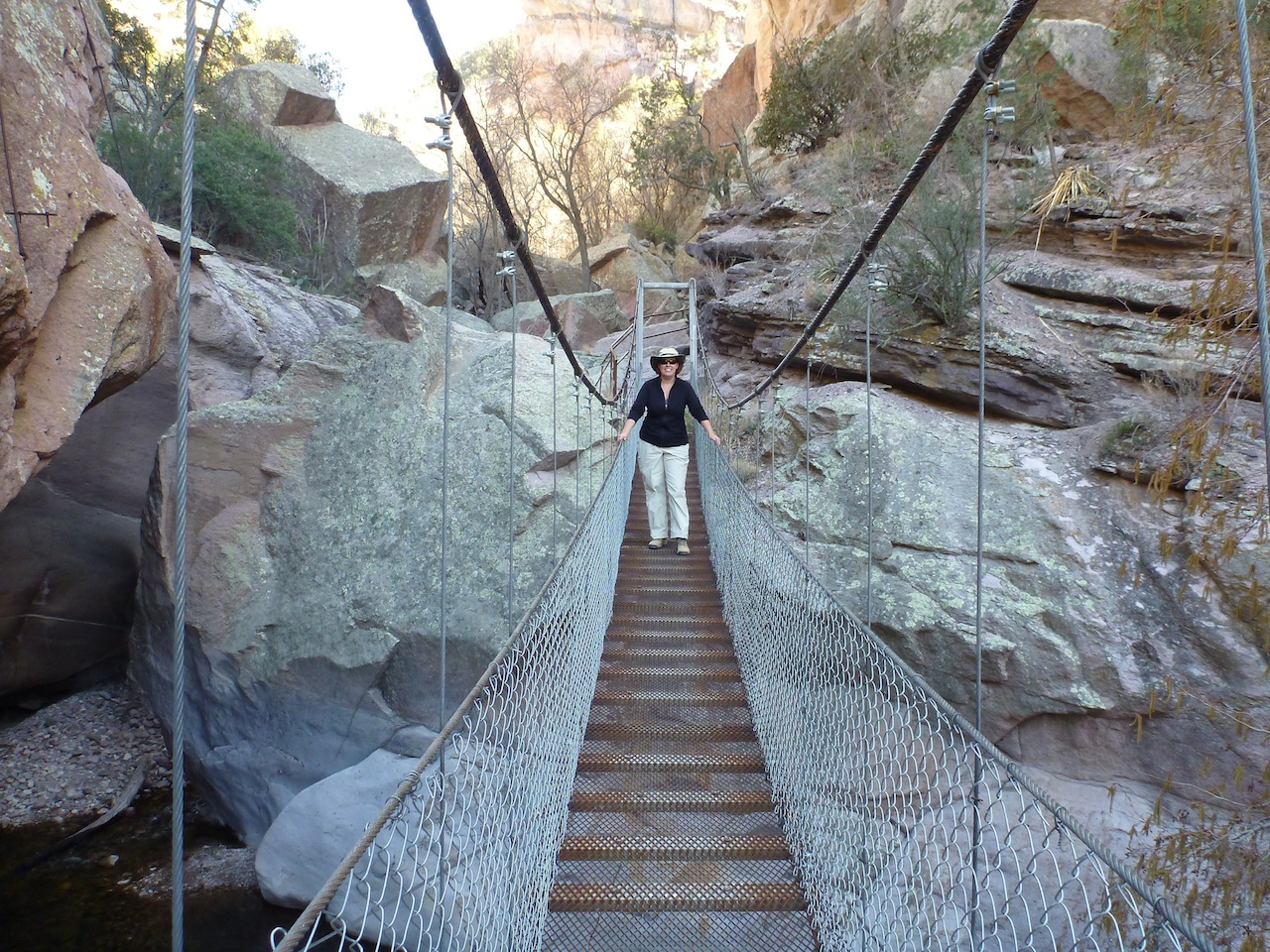 Brenda On One Of The Suspended Bridges Spanning Over The Canyon Floor