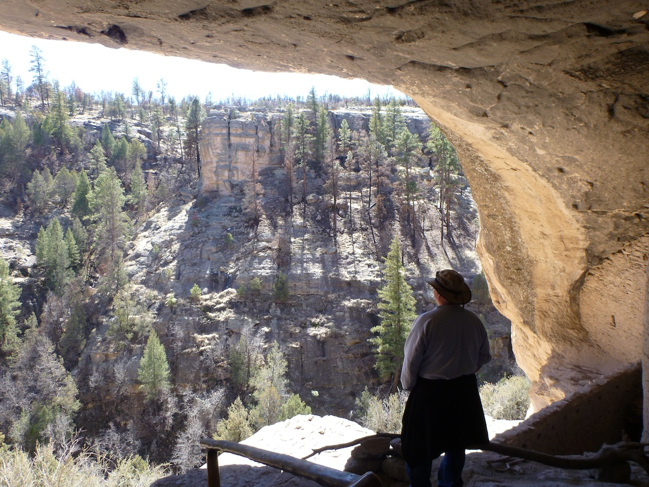 David Enjoying The View From Inside The Cliff Dwellings.