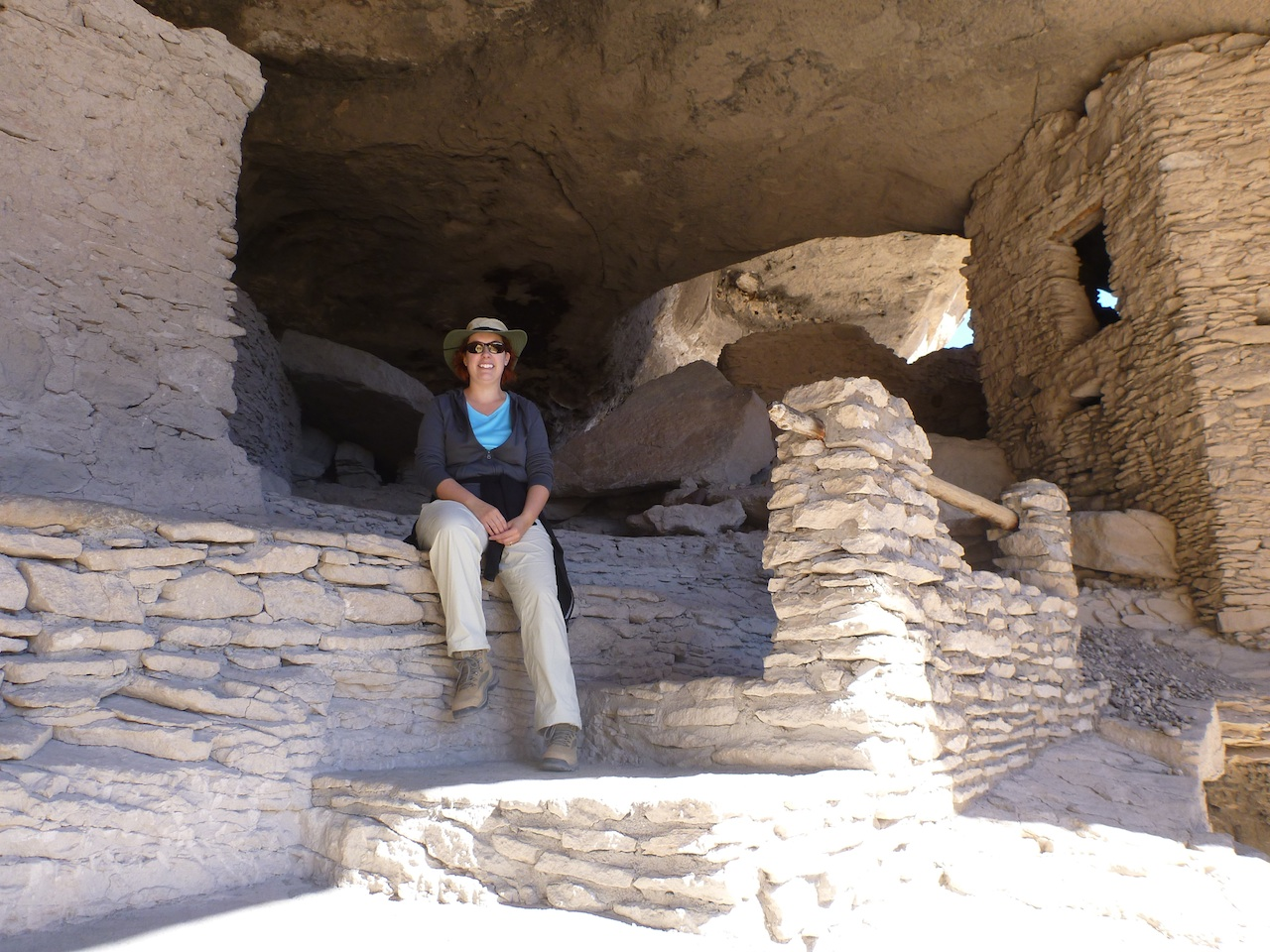Brenda Taking A Rest Inside The Cliff Dwellings