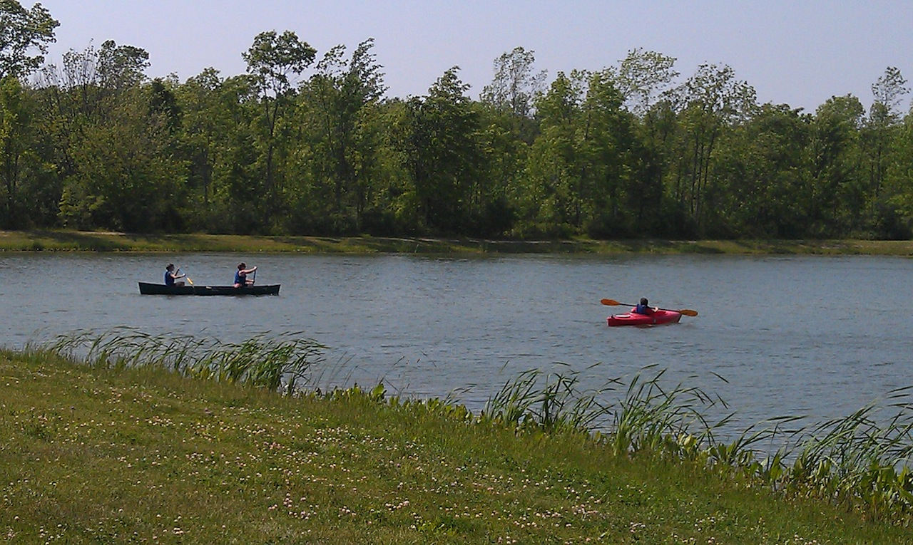 The kids Kayaking and Canoeing