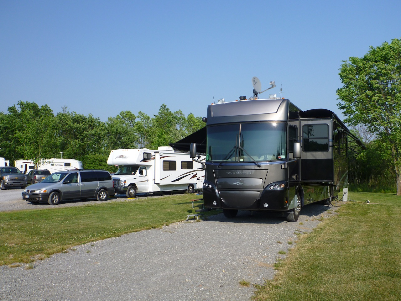 Our Spot At The Campground In Grand Island, NY.  Our Friends Class C Next To Us.