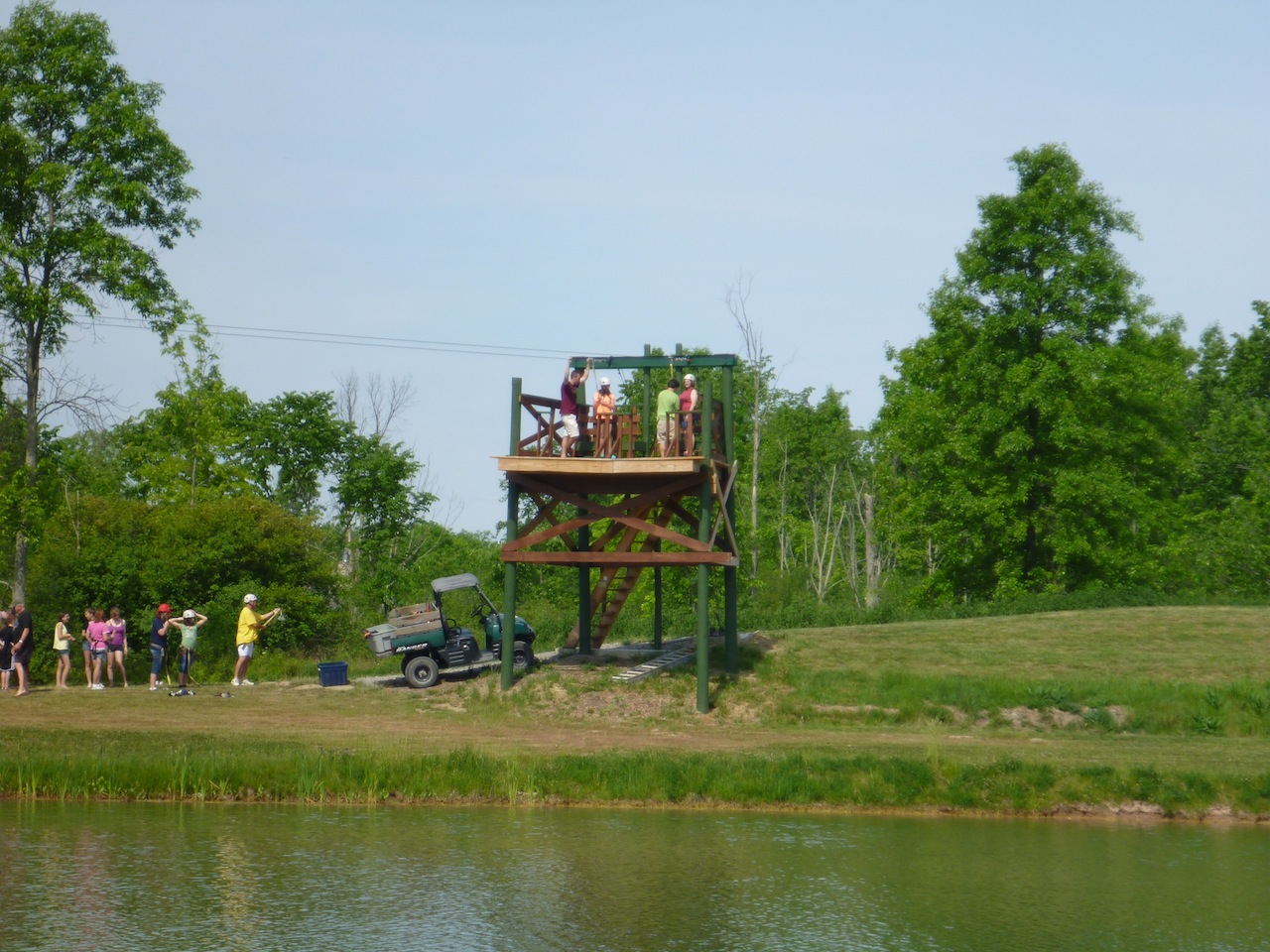 Zip Lining Across The Lake At The Campground