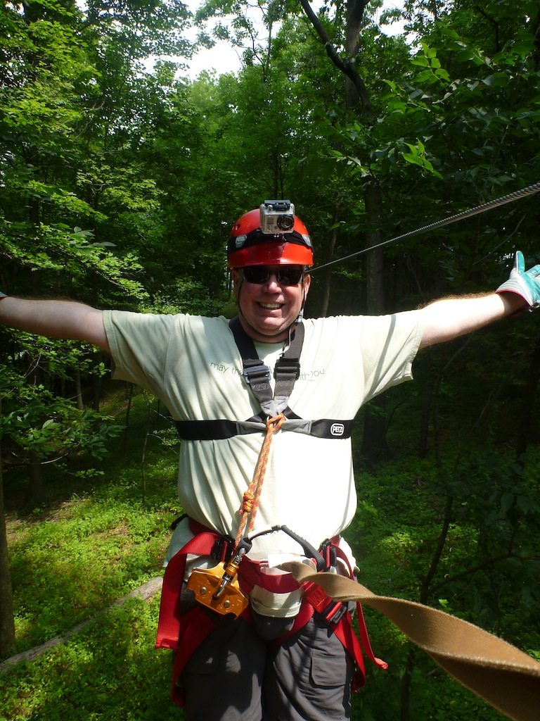 David Ziplining Through The Preserve