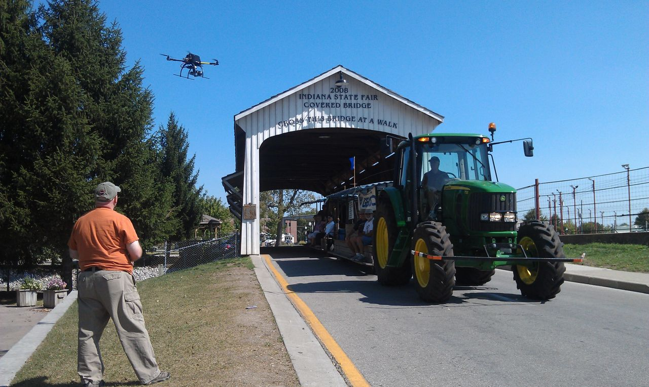 David Getting An Awesome Shot Of The Tractor Coming Out Of The Covered Bridge