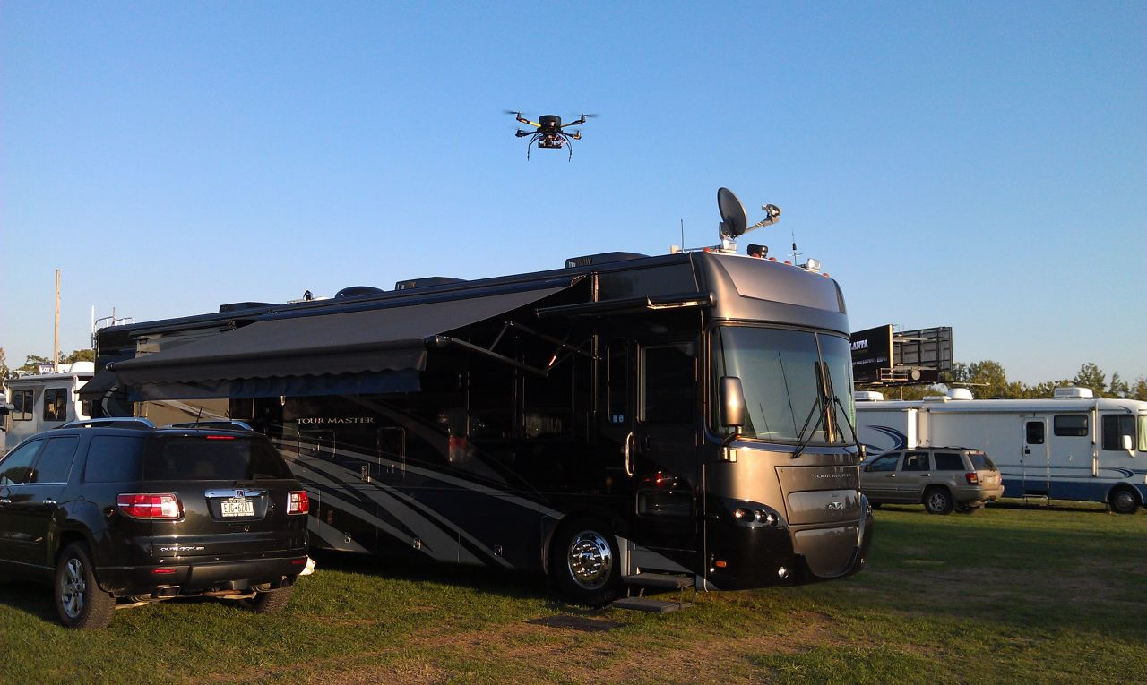 Our Coach And Quadcopter At The FMCA Rally In Indianapolis, IN - August 2012