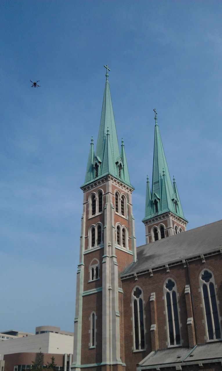 The Church Next Door And David Flying The Quadcopter