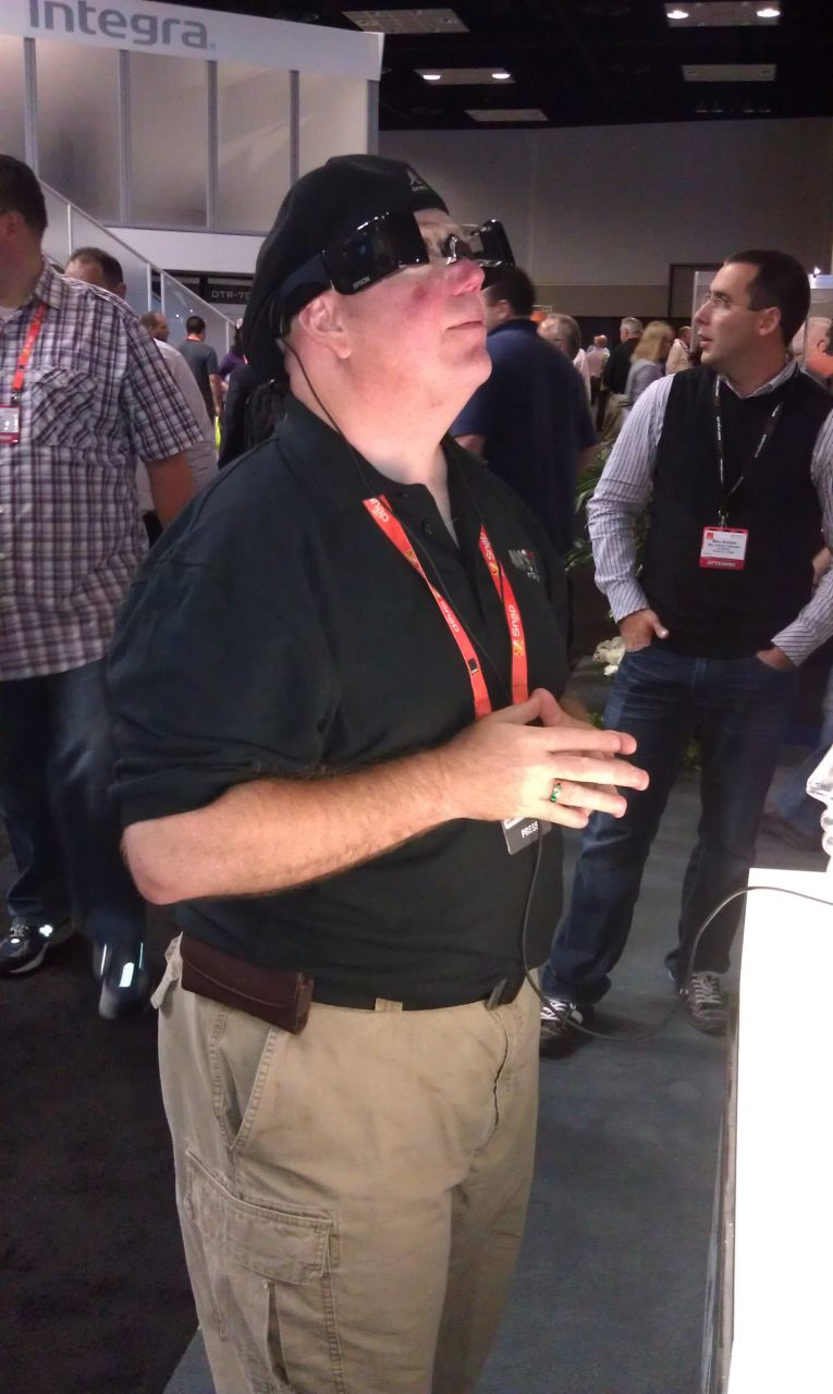 David Testing Out The FPV Glasses At The Epson Booth