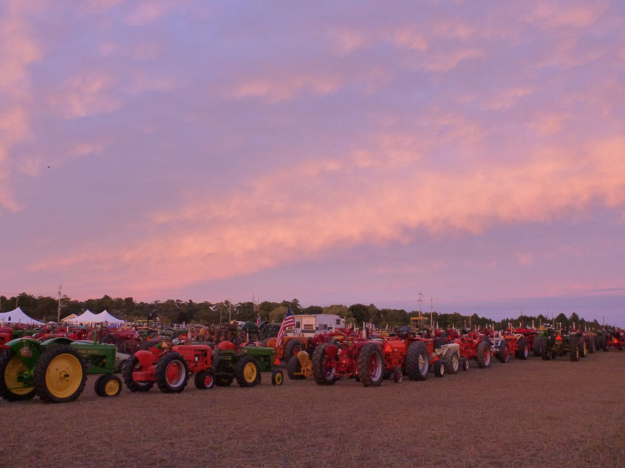 Tractors At Sunset
