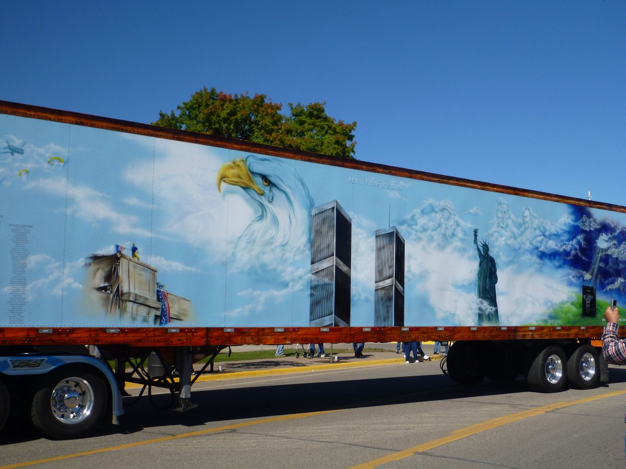 A Up Close Look At The Side Of The 9/11 Memorial Trailer.