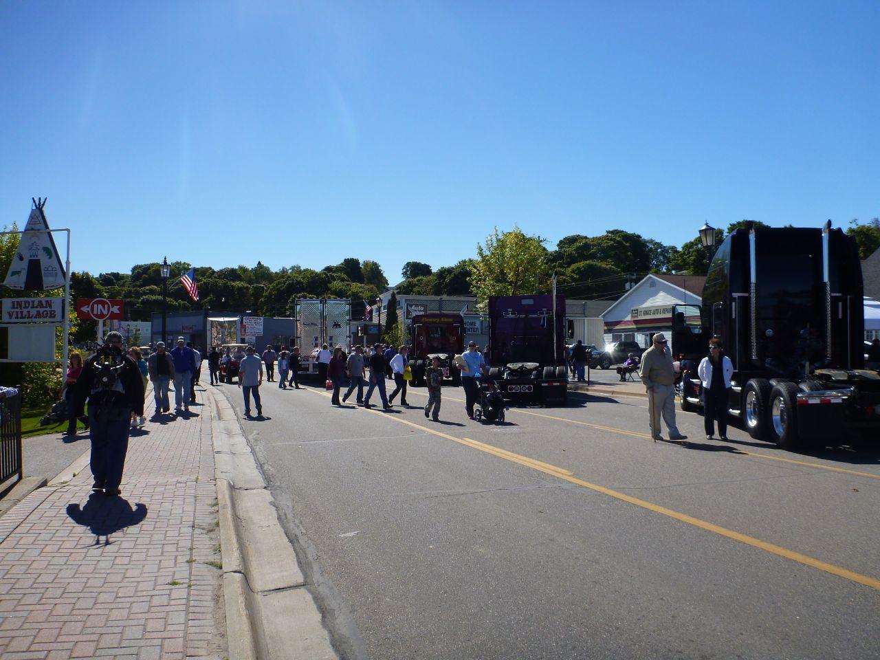 Show Trucks Lining The Streets Of St. Ignace, MI