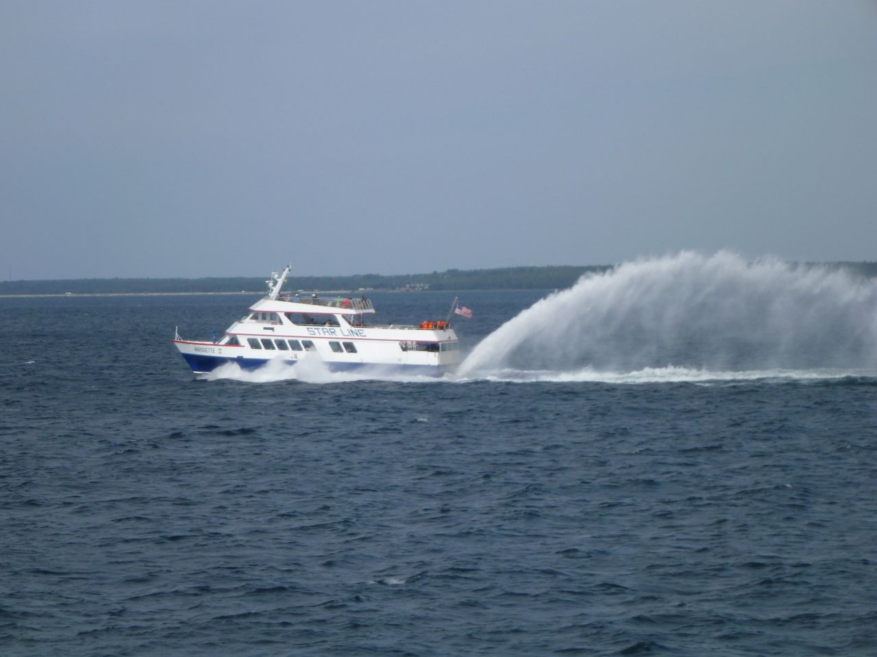 One Of The Ferries Coming From Mackinac Island
