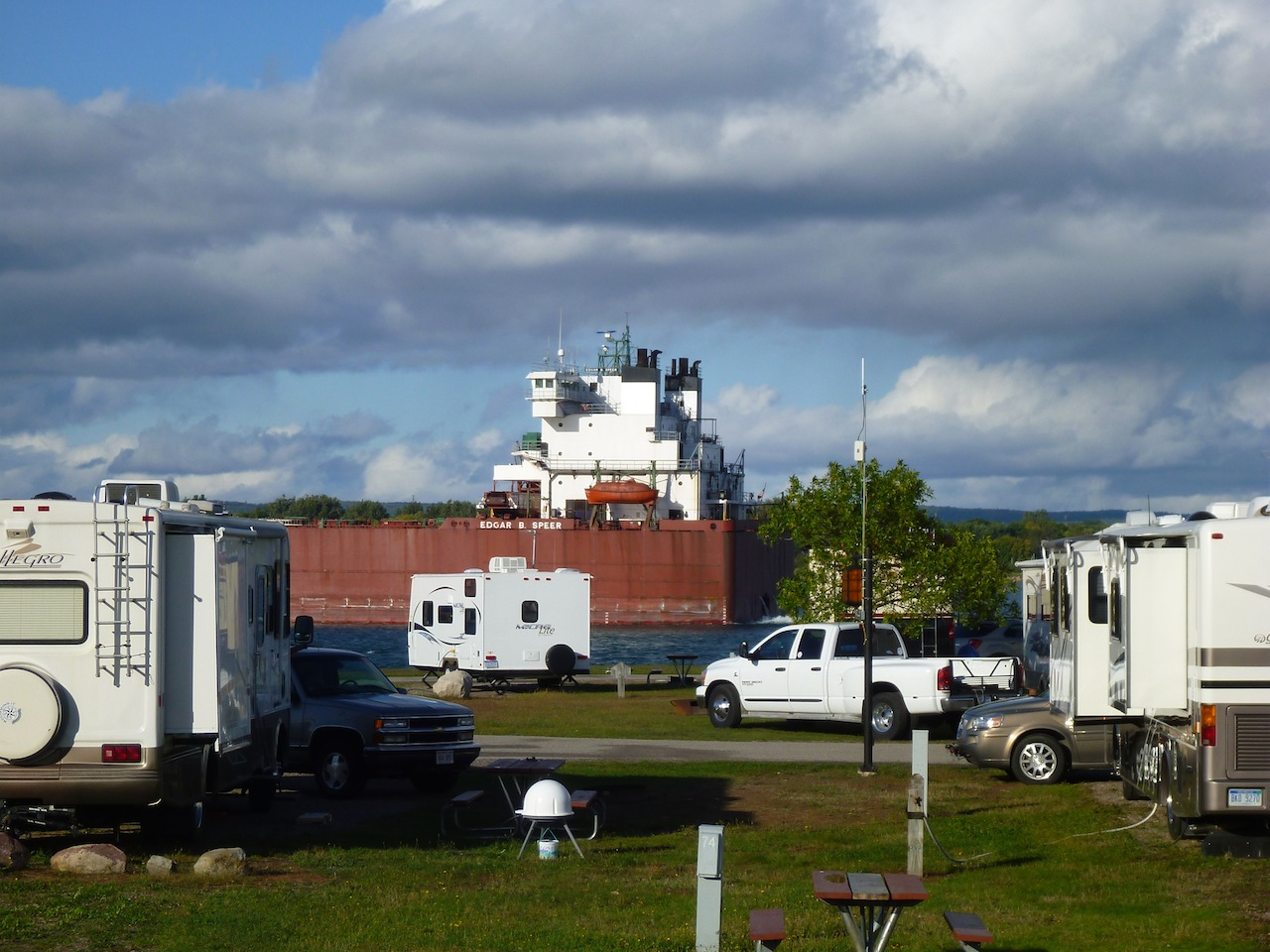 Our View From Our Front Windshield.  The Ships Make The RV's Look So Small.