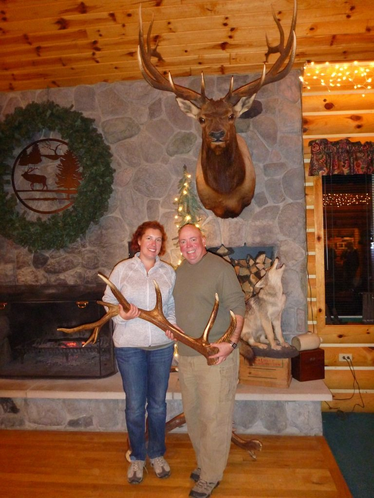 Us Inside The Elk Antler Log Cabin