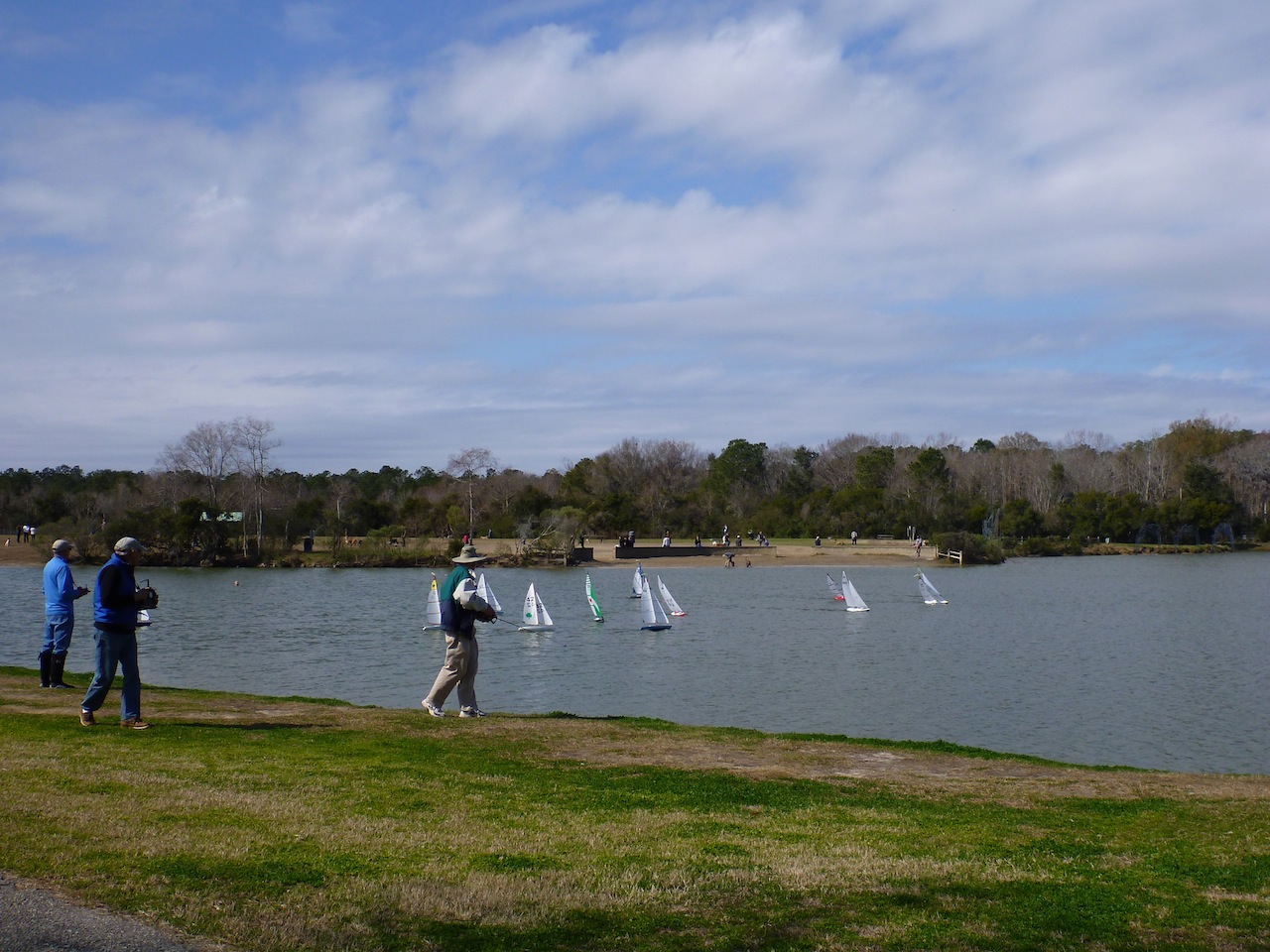 Remote Controlled Sailboats In The Lake At James Island County Park.