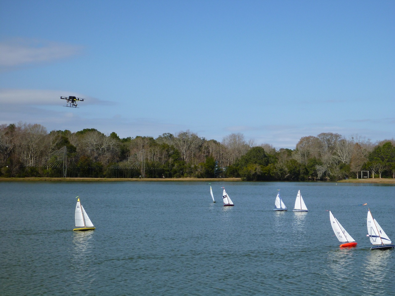 David Flying Over The RC Sailboats