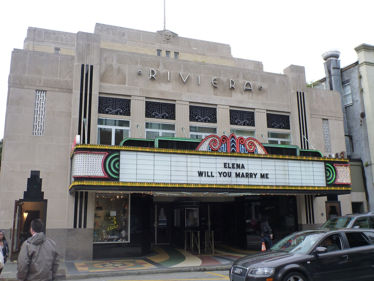 An Old Movie Theater, Still In Business, With A Special Sign.