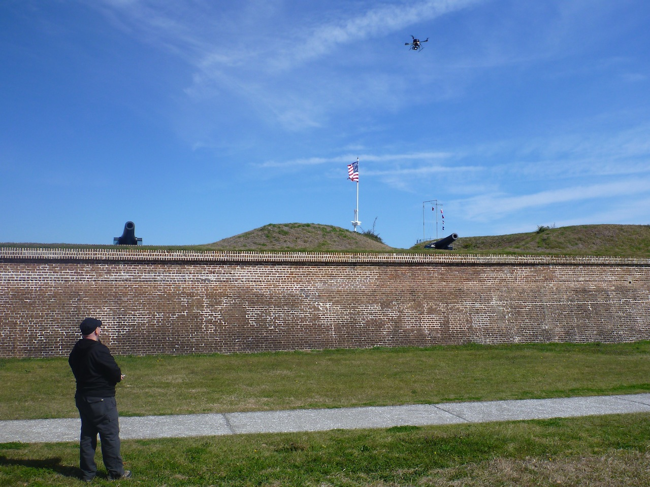 David Flying The Quadcopter Just Outside The Fort