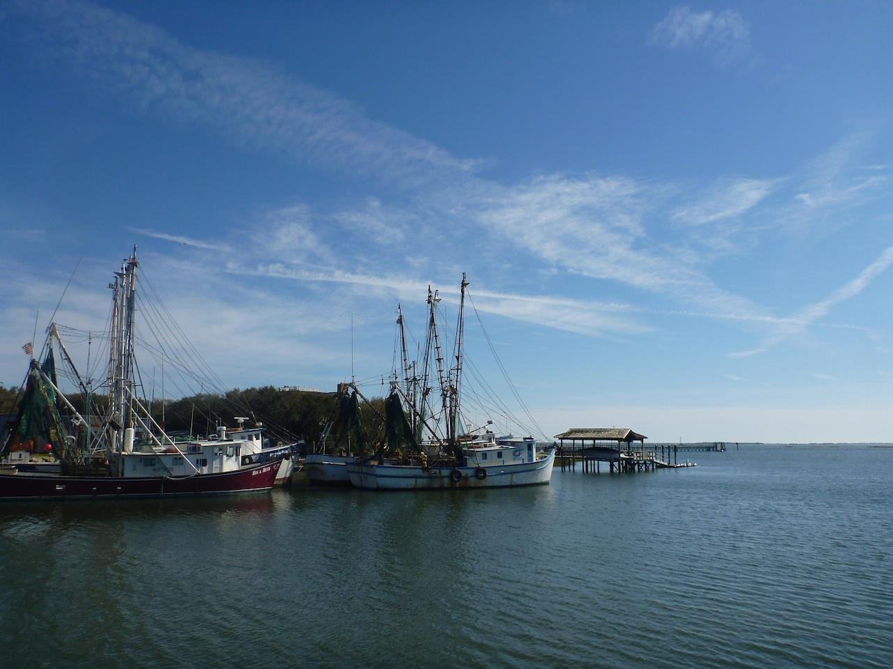 Boats Along The Bay At Shem Creek Park