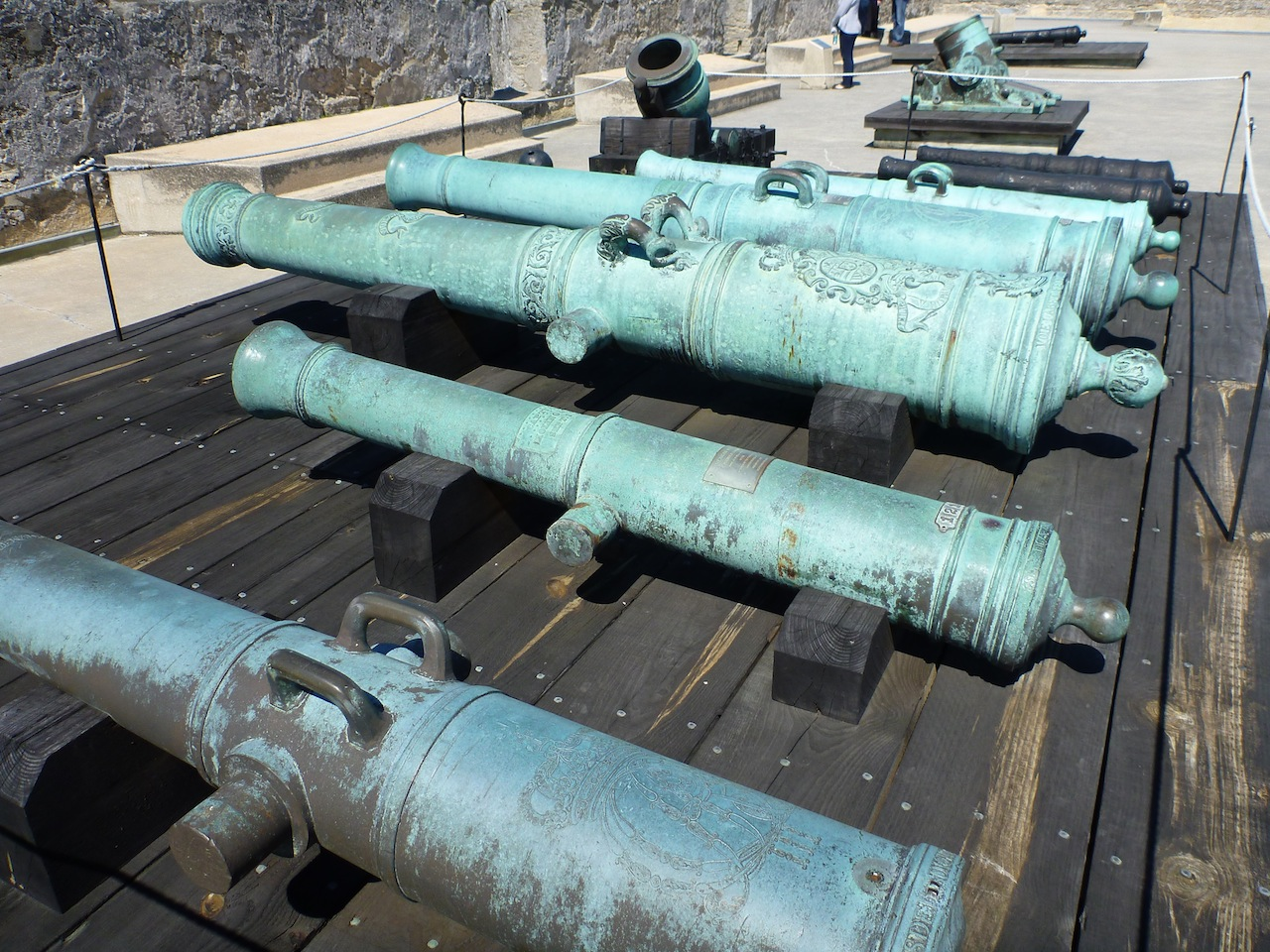A Display Of Original 1600's Cannons That Were Used In The Castillo de San Marcos