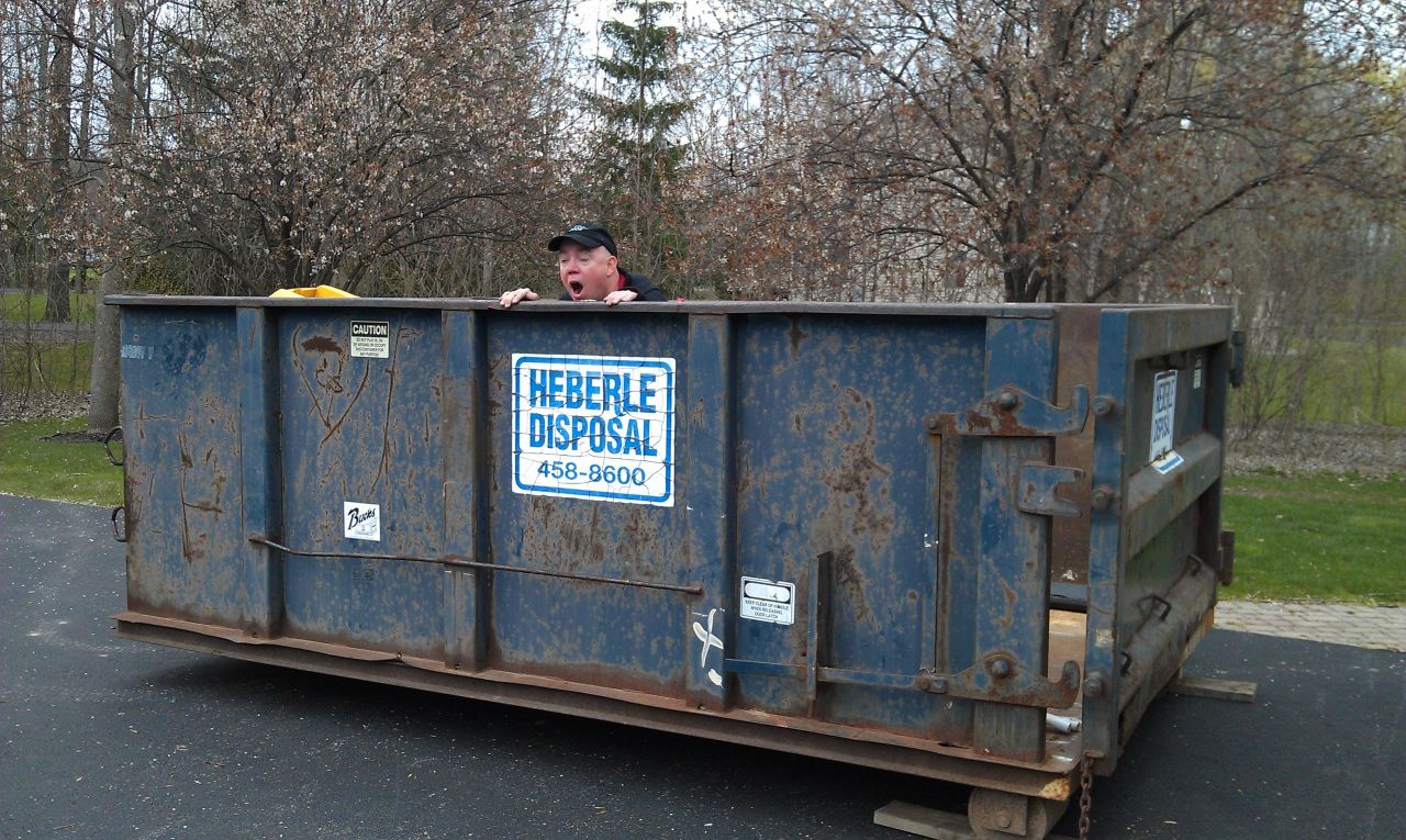 David Goofing Off In The Dumpster.