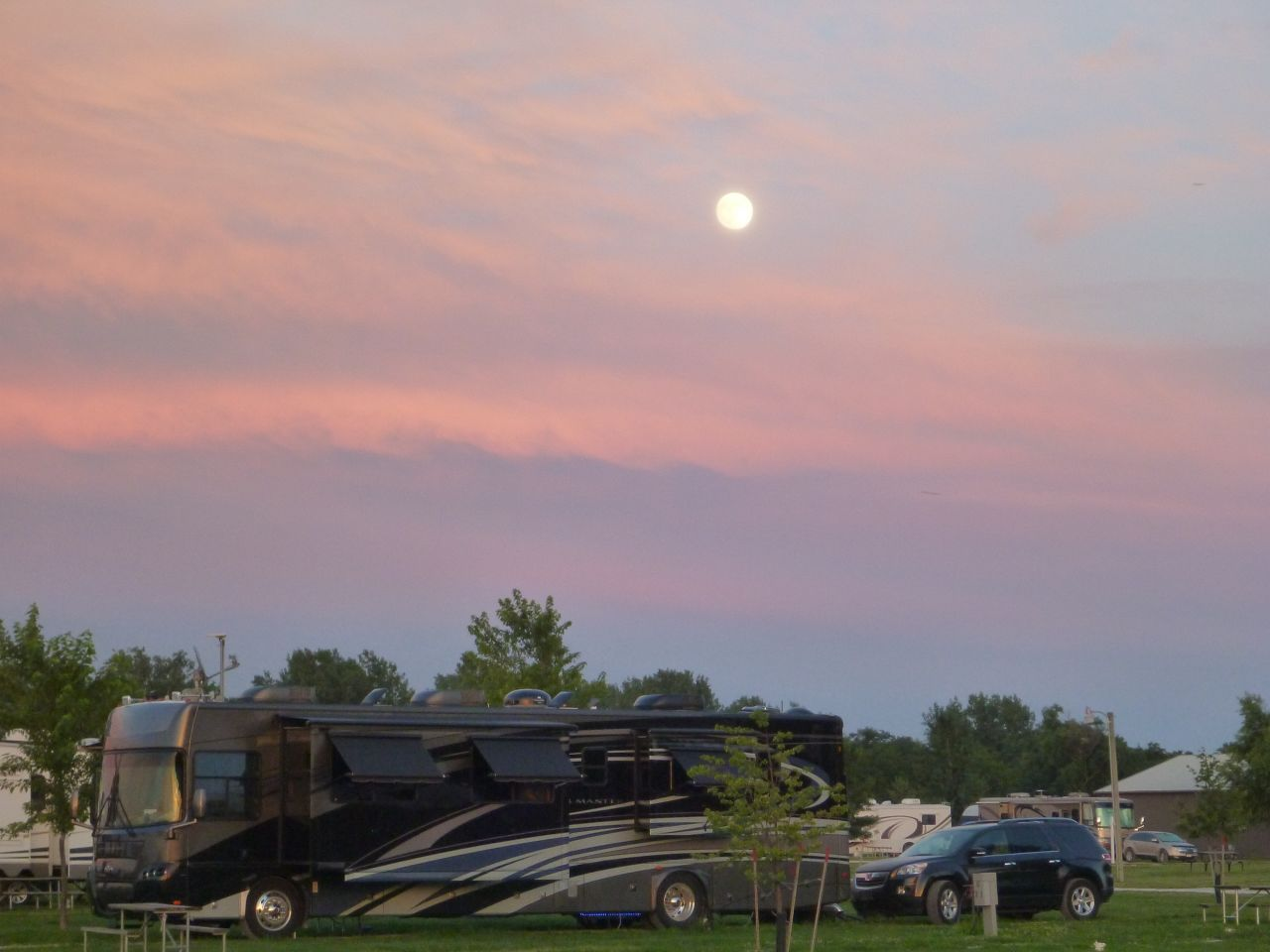 Beautiful Moon Rise Over Our Coach