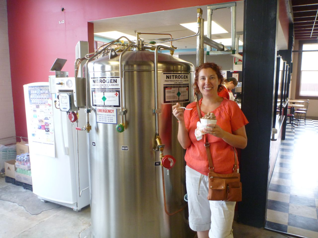 Brenda Standing Next To The Large Liquid Nitrogen Tank