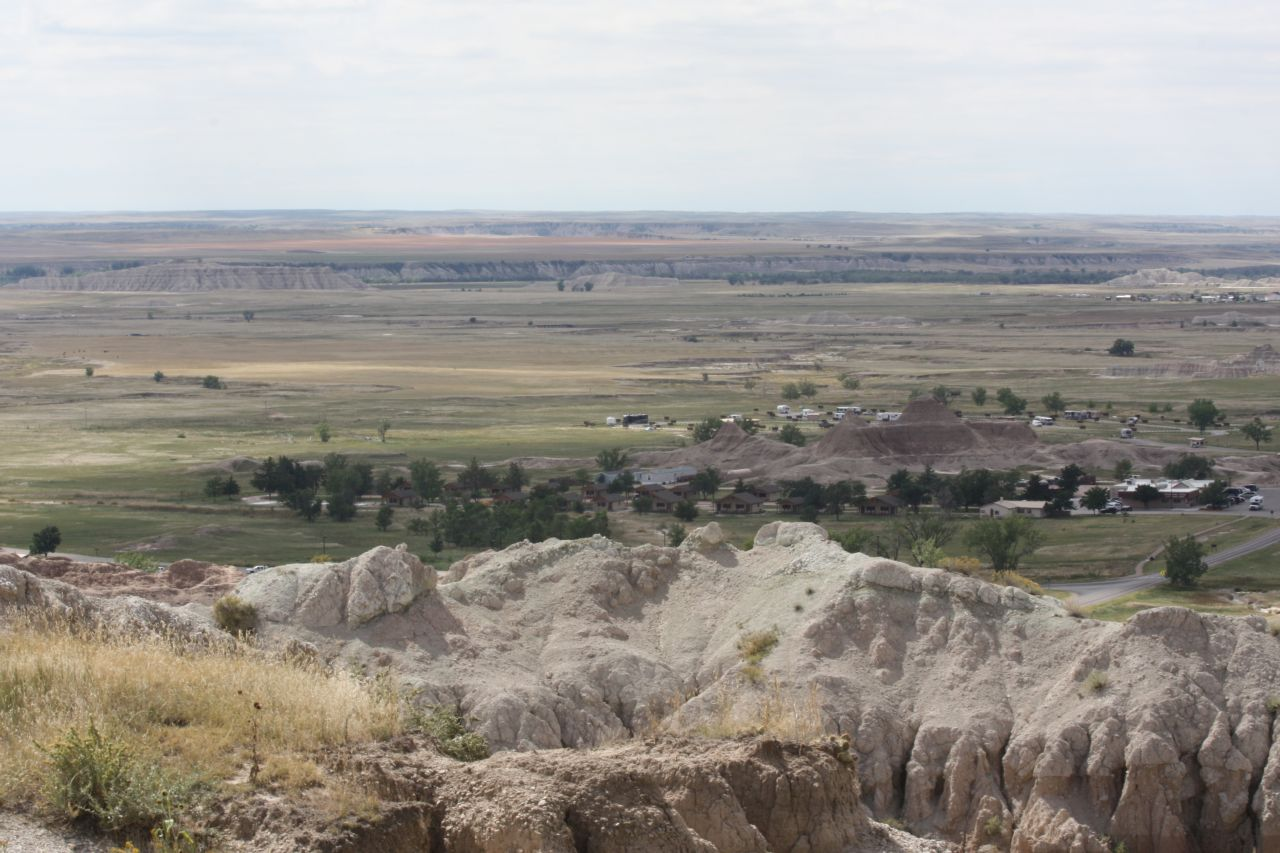 A Long Distance View Of The Campground In The Badlands