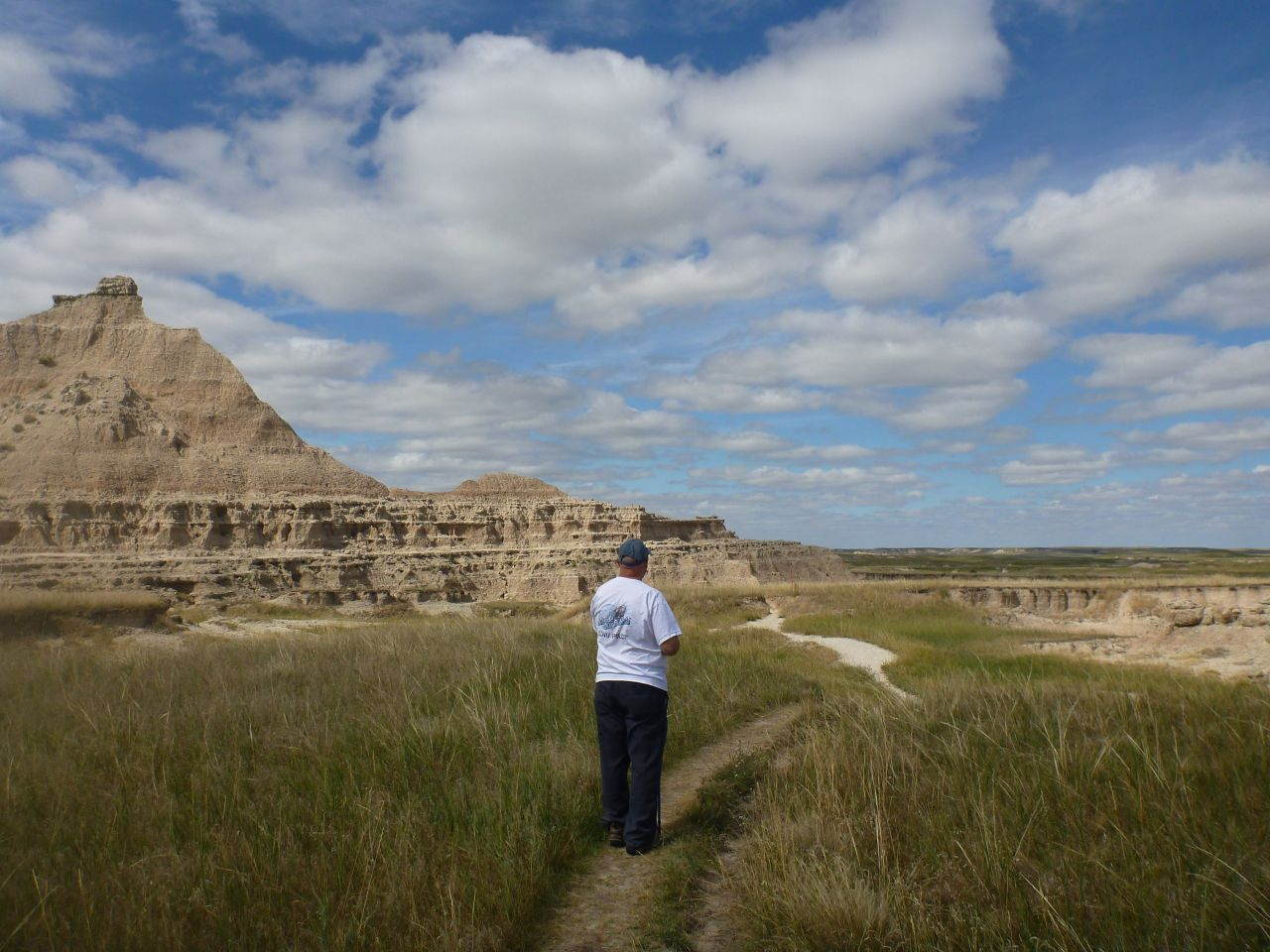 Hiking A Trail In The Badlands