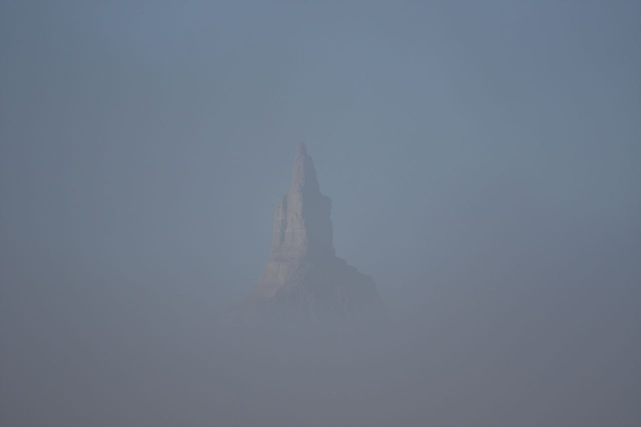 Close Up of Chimney Rock In The Fog