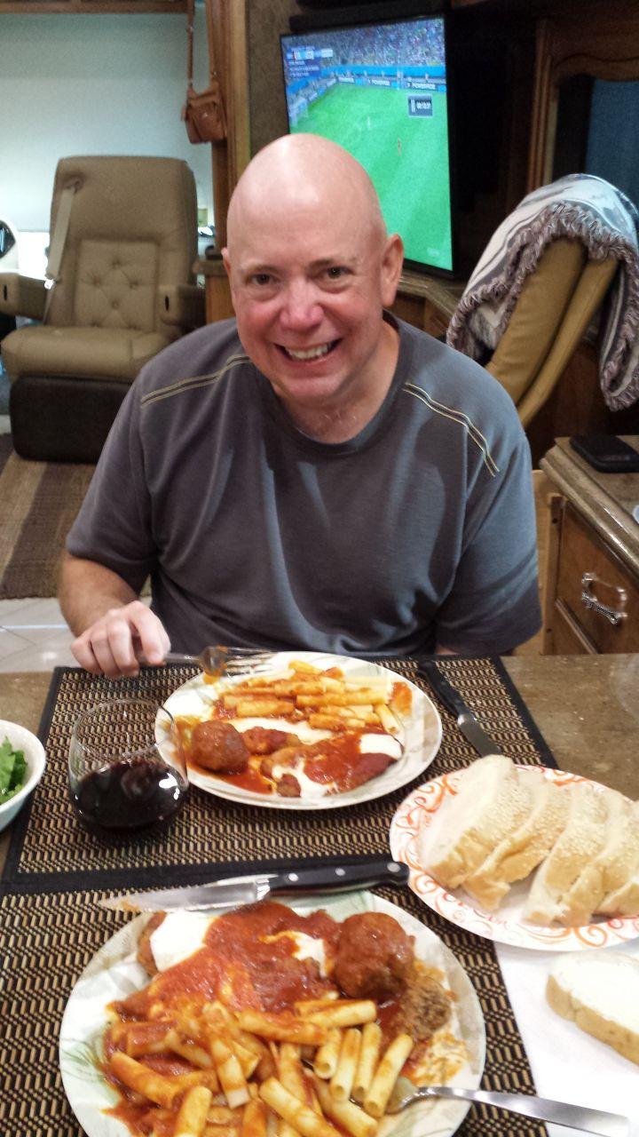 David Enjoying Dinner