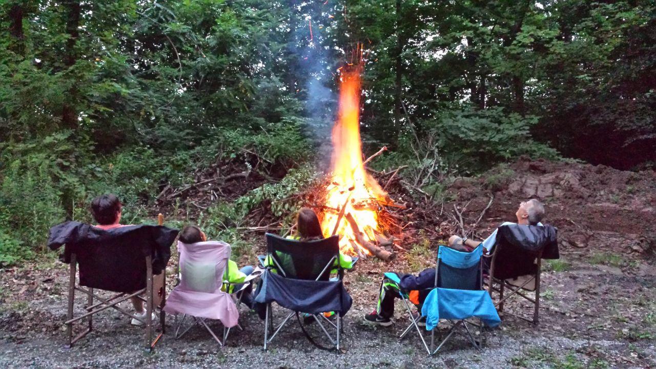 David, Brenda And The Furno's Enjoying The Bonfire One Last Night Before We Leave