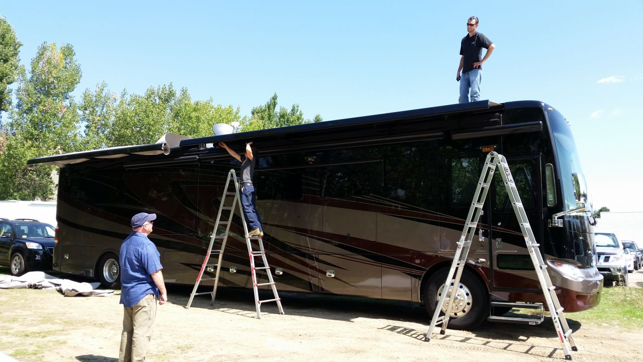 Working on our coach.