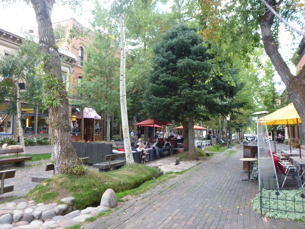 A Central Park Surrounded By Shops