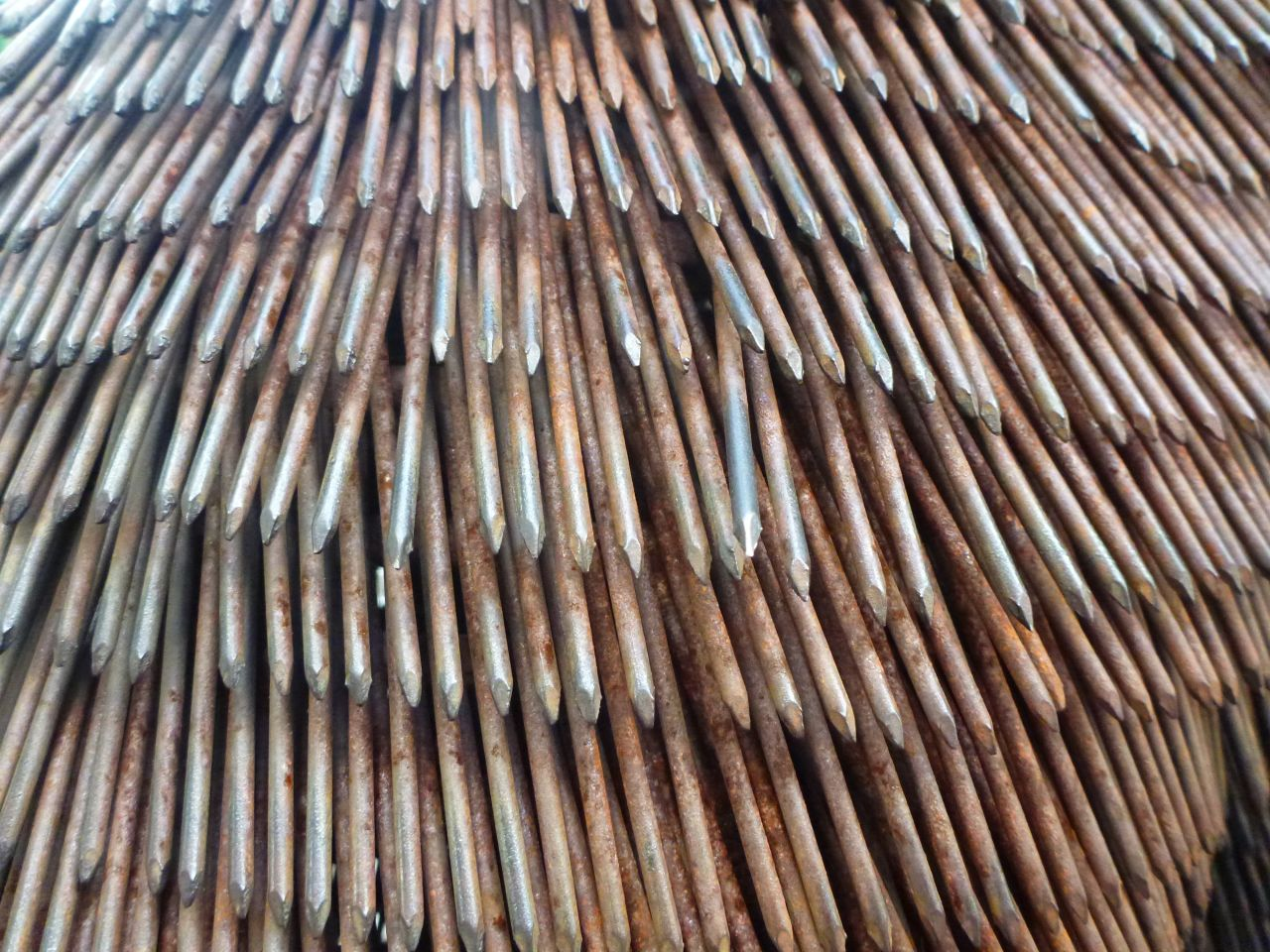 A Close Up of The Nails That Make Up The Bear Sculpture