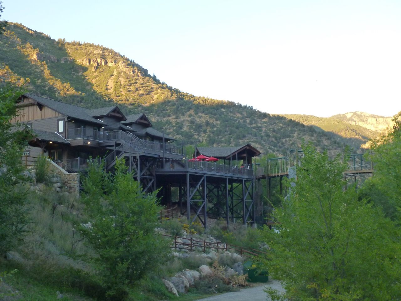 The Outdoor Patio Area OF Glenwood Canyon Resort Near Glenwood Springs, CO
